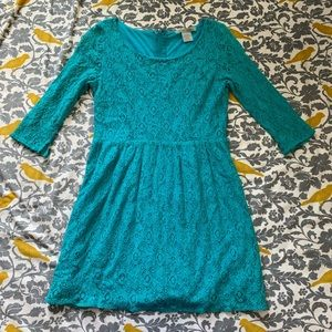 Flying Tomato Teal Lace Dress EUC Size L
